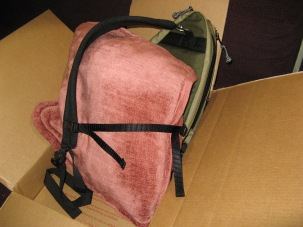 Pillow used to demonstrate stabilizing side strap