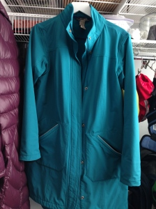 teal raincoat