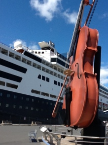 Cruise port giant fiddle at dock