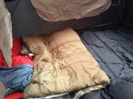 Large brown & small red sleeping bags for kids