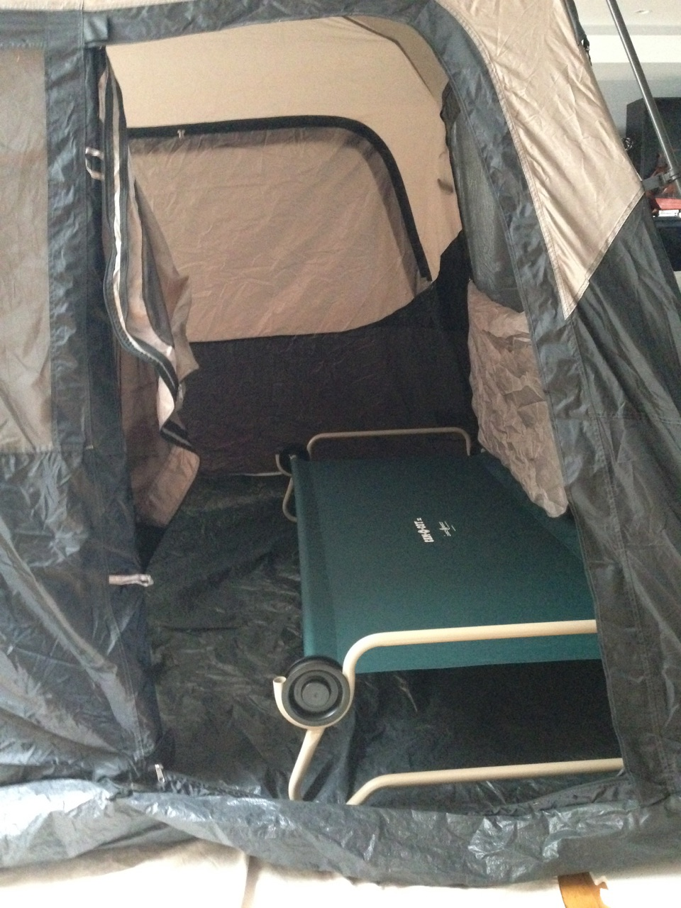 ... C&ing in comfort when you live with chronic pain begin with the bed & Camp Disc-O-Bed Cam-O-Cot XL in tent by door | Really Wonderful Things