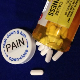 Prescription bottle of pain pills