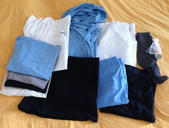 Full wardrobe, including accessories at the upper right