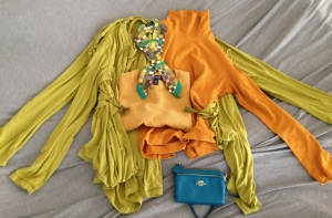 capsule wardrobe CA SF autumn - green wrap tops Twilly - 1