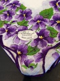 violets handkerchief linen - 1