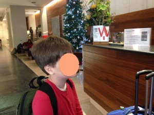 Barcelona hotel lobby with child - 1