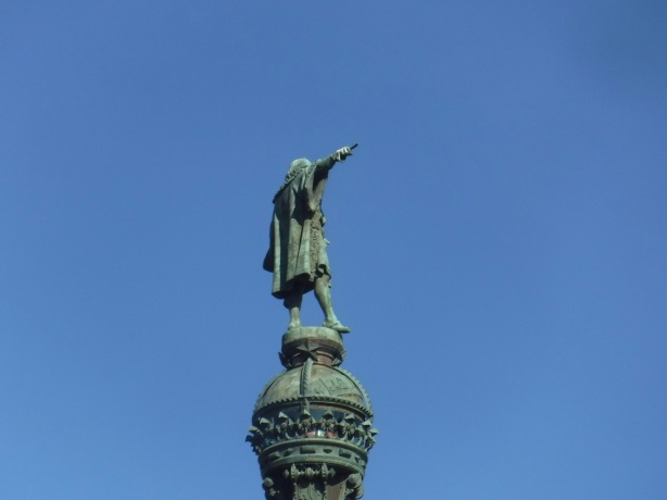 back side of Christopher Columbus monument in Barcelona, Spain