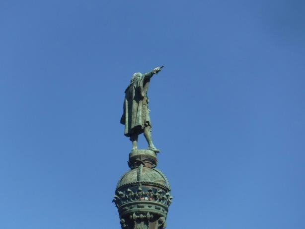 back side of Christopher Columbus monument in Barcelona, Spain