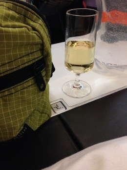 Tom Bihn bag, champagne, and my Platypus travel bottle