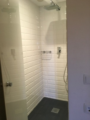 Shower niche has opaque door