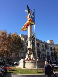 Catalan flag in the region of Spain around Barcelona