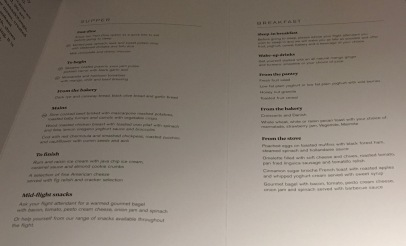 Menu AirNZ Business Class from LAX