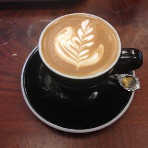 Espresso drink, fancy coffee, with leaf latte art