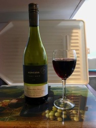 NZ Motel Roma on Riccarton - kitchenette wine bottle glass