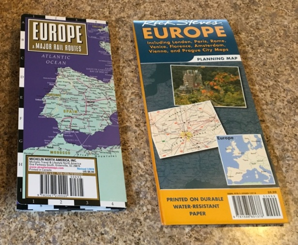 Europe map rail train trip plan compare Streetwise vs Rick Steves