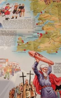 souvenir map Iceland New Zealand - detail
