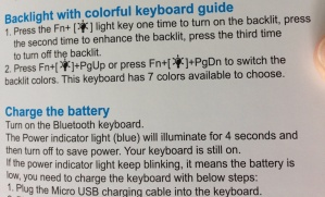 Travel bluetooth keyboard Arteck instructions - backlight battery