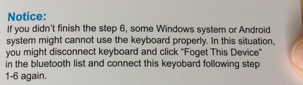 Travel bluetooth keyboard Arteck instructions - pairing important step 6