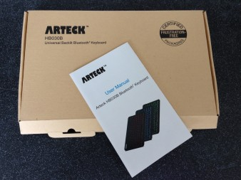 Travel bluetooth keyboard Arteck - packaging manual