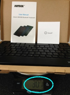 Travel bluetooth keyboard Arteck - scale weight with box manual