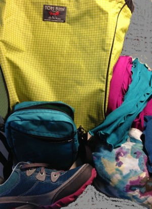 Bright Tom Bihn bags with Angelrox accessories and silk poncho
