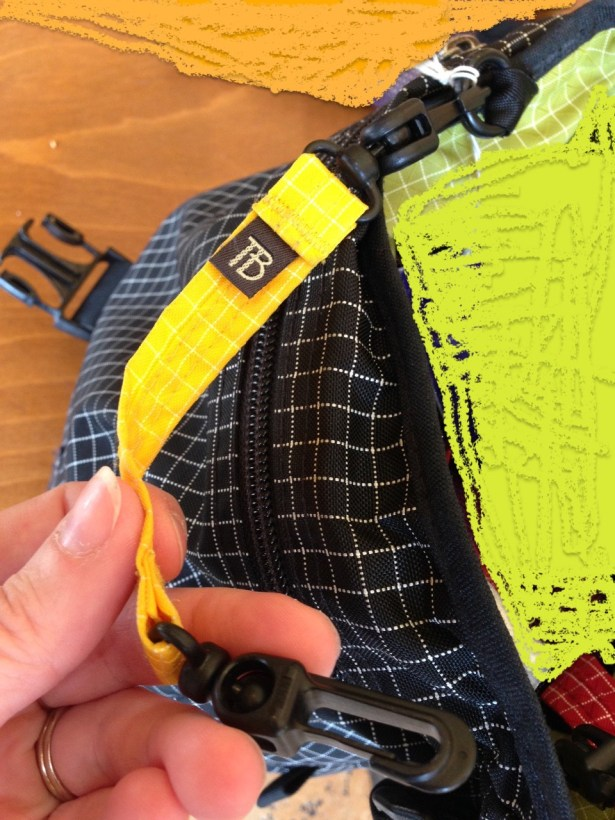 Tom Bihn yellow Key Strap on Cafe Bag