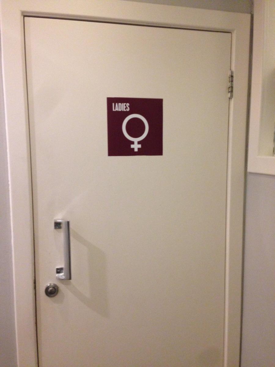 Door to ladies' room