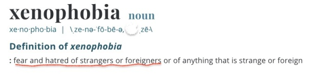 dictionary definition of xenophobia