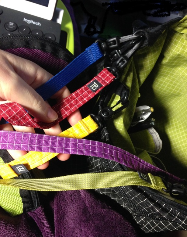 Colorful Tom Bihn Key Straps attached to Cafe Bag