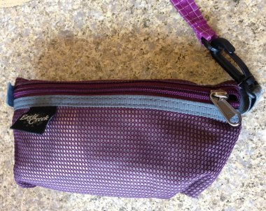 Eagle Creek pouch tethered with Tom Bihn Key Strap