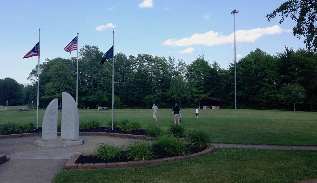 USA flag flying on pole Ohio