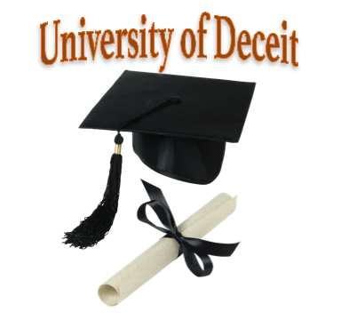 Graduation cap and degree captioned University of Deceit