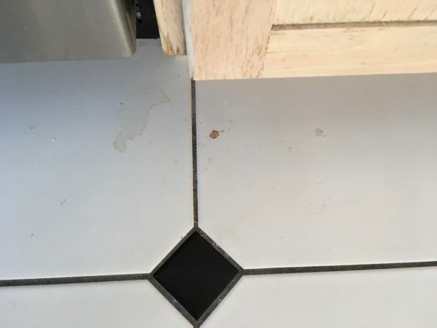 Visible dirt, crumbs and spills on white tile floor