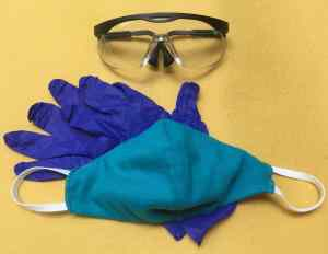 Safety goggles, cloth face mask, and disposable gloves
