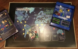 Playing board and instructions for Pandemic game