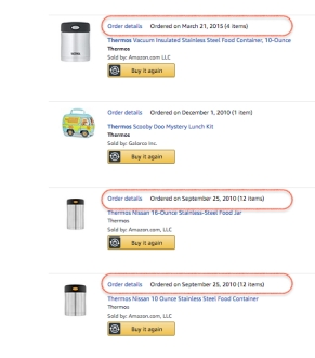 Amazon order list showing March 2015 and September 2010 purchase of Thermos brand insulated food jars