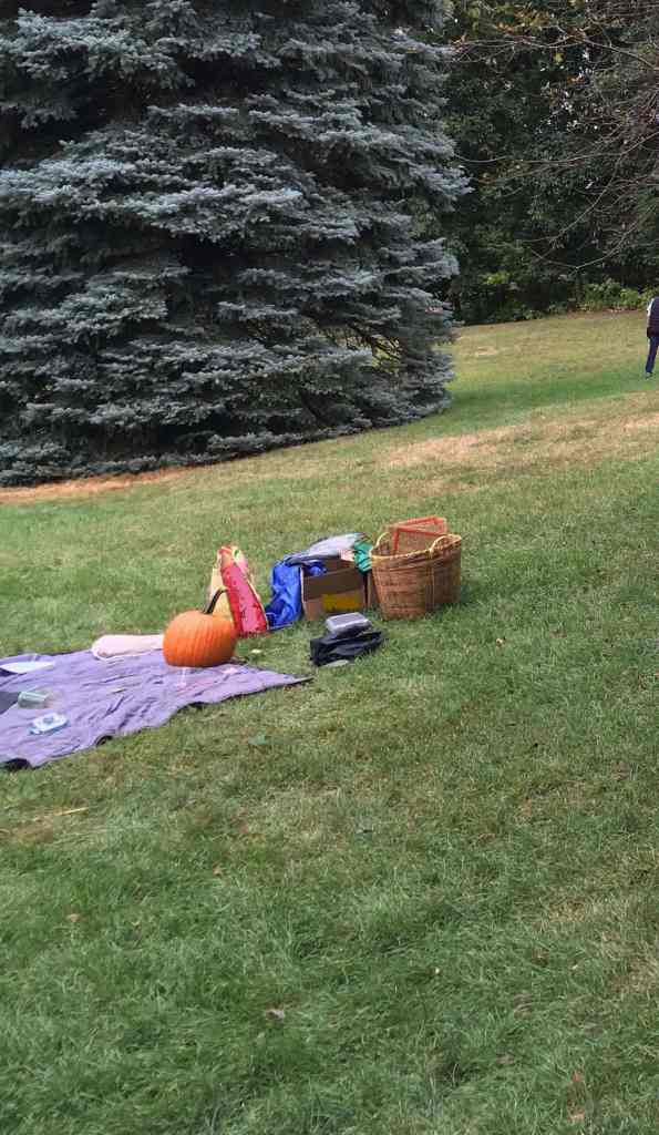 Blanket spread on lawn with pumpkin, pencils, etc.
