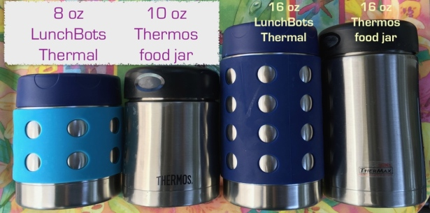 Size comparison of LunchBots 8 oz, Thermos 10 oz, LunchBots 16 oz and Thermos 16 oz food jars
