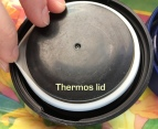 Black plastic Thermos lid, unlined, with white gasket