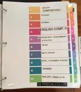 Binder page listing high school courses for grade 10