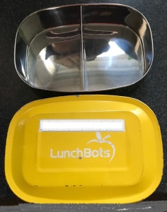 2 well used LunchBots pico containers, one with lid missing