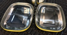 undersides of 10 year old and new LunchBots Pico painted stainless lids