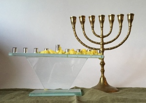 Jewish menorah and hanukkiah candelabrae