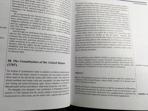 Text of the Constitution of the United States in history book