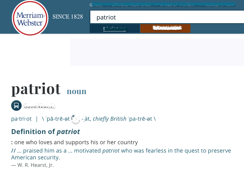 Merriam Webster dictionary definition of patriot from website