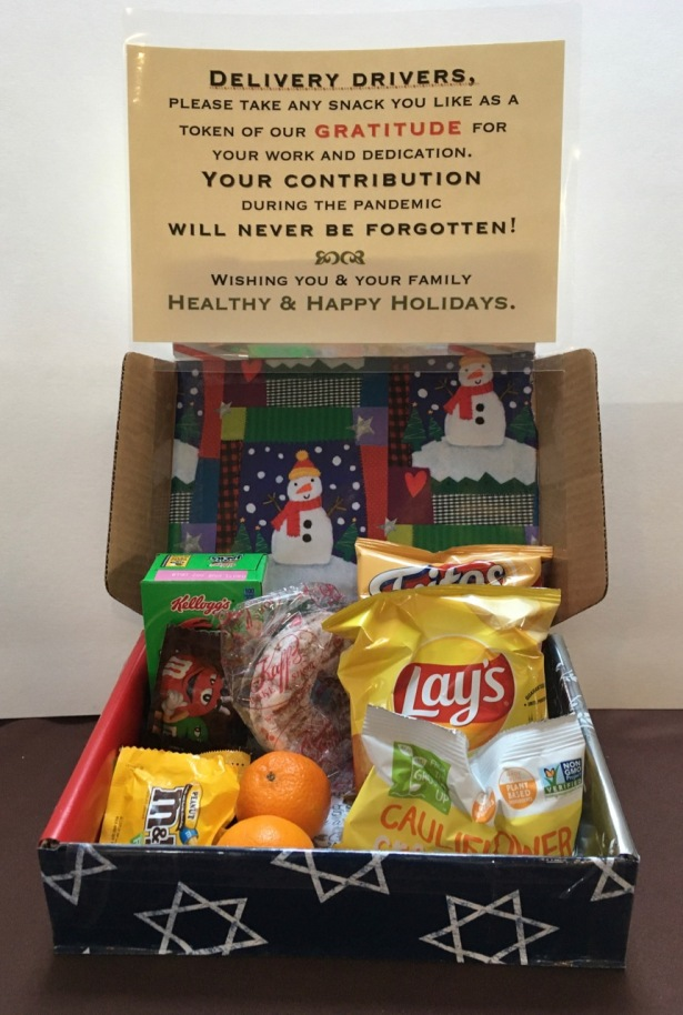 Winter/Xmas/Hanukkah decorated box of snacks with note of thanks to delivery drivers