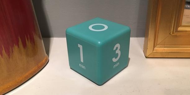 Cube timer on living room mantel