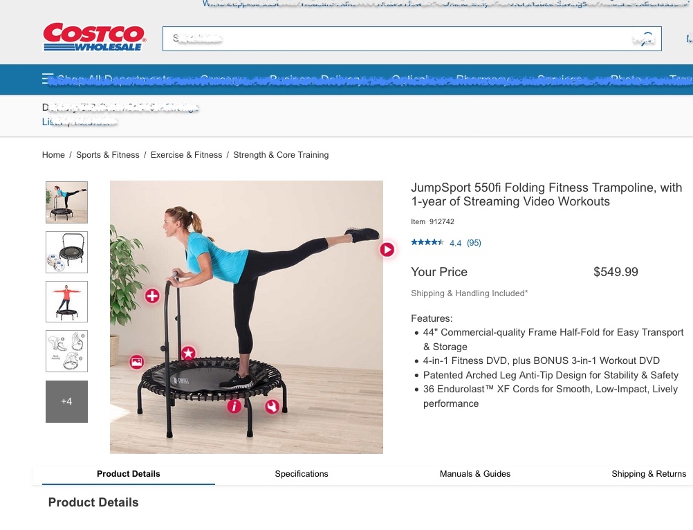 Costco online store product page for JumpSport 550fi trampoline
