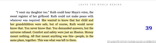 Leave the World Behind novel's final page of Chapter 38 with highlighted quote