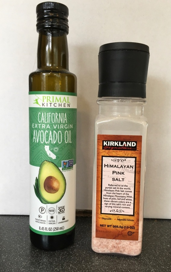 Primal Kitchen avocado oil and Kirkland Himalayan pink salt